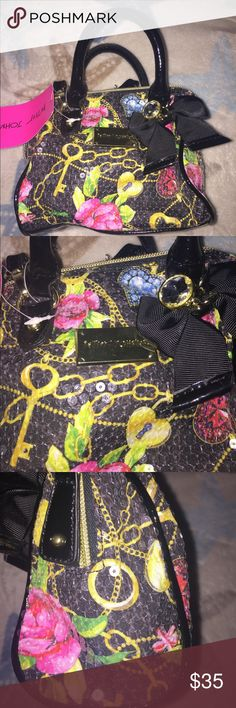 NWT Betsey Johnson Mini Secret Garden Purse Bag New with tags - Betsey Johnson - Mini Speedy w/ Crossbody Strap - Handbag Purse- Secret Garden - Black - BE14705 - Sequins Betsey Johnson Bags Mini Bags