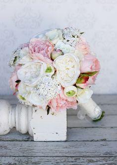 Silk Bride Bouquet Peonies Roses Rustic Chic Wedding