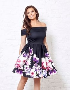 Jessica Wright Skater Dress With Floral Border Print