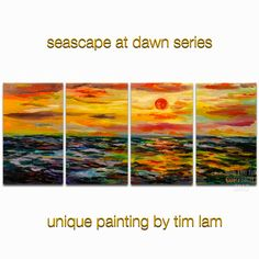 Art painting Ocean Sunrise modern deco Colored Sky by elseart, $328.00