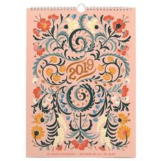 Floral Typography by Jill De Haan 2019 High Note Designer Wall Calendar Wall Planner, Pastel Roses, Chapters Indigo, Floral Design, Graphic Design, Old Magazines, Antique Stores, Floral Wall, Hand Lettering