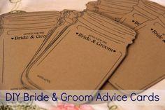 DIY Template for Mason Jar Bride and Groom Advice Cards
