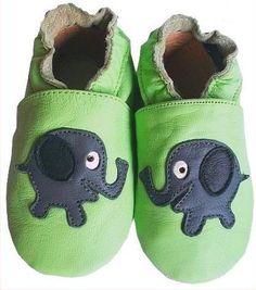 Baby Leather Shoes  Motiv: Elefant  Hauptfarbe: Grün  Model : L18    *size : 23-24 (18-24 Monate)*