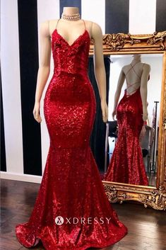 Red Halter Sequins Sparkle Evening Gowns Sexy Mermaid Dresses Long Prom Dress - 2020 New Prom Dresses Fashion - Fashion Of The Year Elegant Dresses, Pretty Dresses, Sexy Dresses, Beautiful Dresses, Formal Dresses, Long Dresses, Dress Long, Kohls Dresses, Dance Dresses
