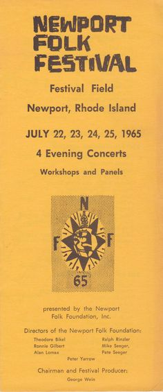 "Bob Dylan - 1965 ""Goes Electric"" Newport Folk Festival Handbill/Ticket Order Form   Recordmecca"