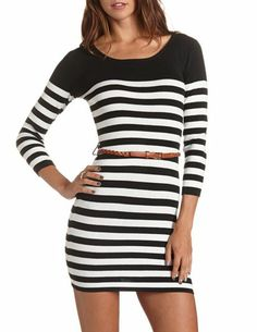 Belted Striped Sweater Dress: Charlotte Russe