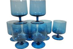 Blue Glass Goblets, Set of 8