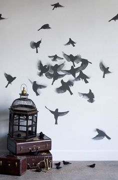 JMK says:- Love this bird wallpaper - would be fab in a bedroom