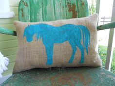 Hey, I found this really awesome Etsy listing at https://www.etsy.com/listing/156277721/painted-burlap-horse-throw-accent-pillow