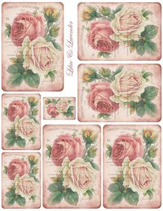 French+receipt+&+roses+tag+collage+sheet+~+lilac-n-lavender.jpg 1,236×1,600 pixels