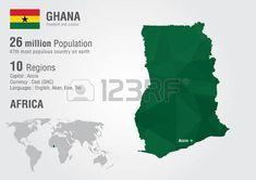 Ghana, Africa. Mapa con un modelo del diamante pixel.