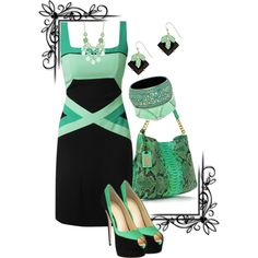 """Green and Black"" by jlg8503 on Polyvore"