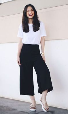 Style Casual, Casual Work Outfits, Simple Outfits, Classy Outfits, Chic Outfits, Trendy Outfits, Fashion Outfits, Cullotes Outfit Casual, Stylish Dress Designs