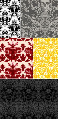 PO - damask3 {images clockwise from top left: 1. Cat damask, http://spoonflower.com/profiles/poetryqn; 2. Dread Damask, http://spoonflower.com/profiles/sparrowsong; 3. dotgold damask, http://spoonflower.com.profiles/weavingmajor; 4. Devil Damask, Timorous Beasties, http://timorousbeasties.com; 5. Euro Damask, Timorous Beasties,  http://timorousbeasties.com}