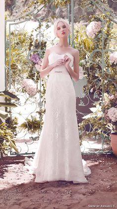 SNOW by ANNASUL Y. 2016 #bridal gowns strapless sweetheart neckline fully embellished romantic pretty sheath a line #wedding dress sweep train (sa2603b) mv