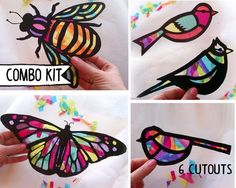 This cool kids activity brings nature inside. Its awesome to watch the kids hang up their shapes and see the sun shine up the colors. Kids of all ages will enjoy this craft, as well as adults.  I originally made these butterflies last winter for a playgroup activity. After seeing butterflies and birds at the botanical gardens, we crafted these sun catchers. Everyone loved them so much, I decided to offer them in my shop. Each shape is based on one of my hand drawn designs-unique to Hello…