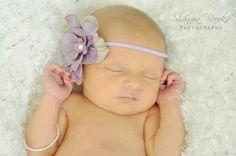 Delphinium Vintage Inspired Purple Lavender Skinny Baby Headband. Pearl Flower headband Baby girl headbands. Photography prop Skinny Elastic