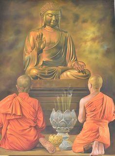 Buddhist Monk Painting Buddha And Monks Painting Kamal Rao Buddha Tattoo Design, Buddha Tattoos, Buddha Kunst, Buddha Art, Arte Shiva, Buddha Painting, Buddhist Monk, Mystique, Online Painting