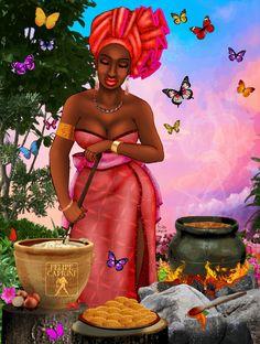 Iyansa preparando Acarajé / Oya frying Akara - By Felipe Caprini Black Love Art, Black Girl Art, Art Girl, African American Artist, African Art, Oya Goddess, Oya Orisha, Yoruba Orishas, African Mythology