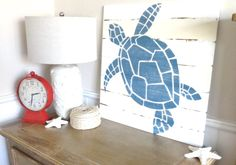 Meet Me Bye The Sea Nautical Handpainted Sea Turtle Sign