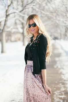 holiday, series, sequin, skirt