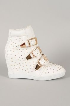 Bumper Studded Buckle High Top Wedge Sneaker - picture for you Fancy Shoes, Pretty Shoes, Me Too Shoes, Sneakers Fashion, Fashion Shoes, High Top Wedge Sneakers, Kawaii Shoes, Mode Shoes, Sneaker Heels