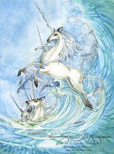 fantastic unicorns | Fantasy Art Unicorns Art print - unicorn waves by