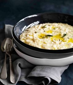 Risotto with smoked provolone and rosemary
