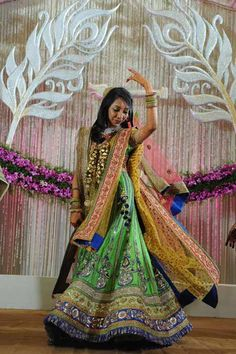 A multicolored outfit by Sabyasachi for the Sangeet of Lata Kedia of WeddingSutra. Photo courtesy: Shailesh Liya