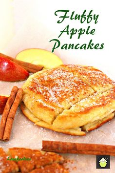 Fluffy Apple Pancakes. Delicious, quick and easy recipe and these are certainly fluffy! Serve warm with a sprinkling of sugar and a dash of cinnamon. #pancakes #apple #lowfat #breakfast #dessert