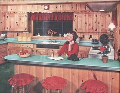Knotty Pine Kitchen by Formica - 1953 by American Vintage Home, via Flickr  This was my mom's kitchen in the 60's.  She designed and built the house.  The whole kitchen and extended family room had knotty pine walls which she waxed once a year.