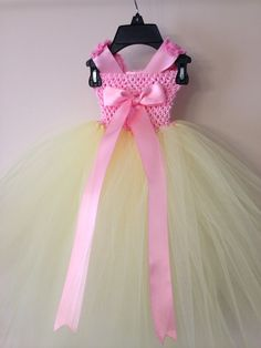 Easter tutu dress / pink and yellow tutu by LittledreamsbyMayra