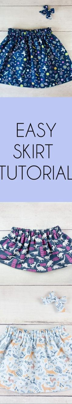 A DIY tutorial for an adorable and simple girls skirt that can be made in any size. Sewing Blogs, Easy Sewing Projects, Sewing Projects For Beginners, Sewing Tutorials, Sewing Tips, Skirt Sewing, Skirt Patterns Sewing, Sewing Patterns Free, Pattern Sewing