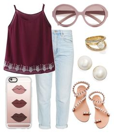 """Burgundy and Pearls"" by kk-purpleprincess ❤ liked on Polyvore featuring Kate Spade, MiH, Elina Linardaki, Casetify and Prada"