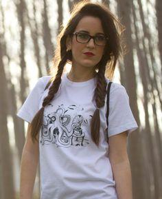 Camiseta Modelo Oldie para chicas diseñada por Atiragua.   Souldesign Oldie White for girls designed by Atiragua.
