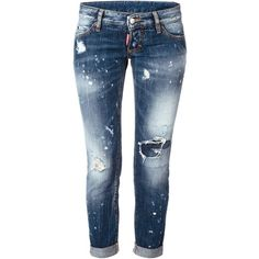 Dsquared2 Pat Jeans ($305) ❤ liked on Polyvore featuring jeans, pants, bottoms, blue, dsquared2 jeans, destroyed jeans, dsquared2, cropped jeans and destroyed cropped jeans