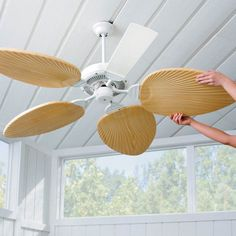 Palm-Leaf Ceiling Fan Blades-Set of 5 Love the look of a tropical ceiling fan but don't want to buy a whole new fixture? Now you can get the look of a palm leaf ceiling fan just by covering your standard fan blades with these palm blades! Tropical Home Decor, Tropical Houses, Coastal Decor, Coastal Cottage, Coastal Style, Tropical Interior, Tropical Style, Cottage Living, Coastal Homes