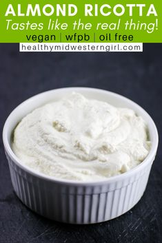 A vegan almond ricotta cheese that& as light, creamy and slightly tangy as the real thing. Inspired by the delicious vegan almond ricotta I first ate at True Food Kitchen. Vegan Cheese Recipes, Vegan Foods, Vegan Snacks, Vegan Dinners, Dairy Free Recipes, Raw Food Recipes, Vegan Vegetarian, Vegetarian Recipes, Gluten Free