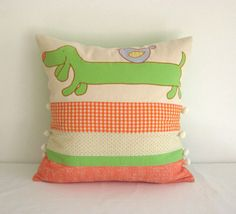 Bright orange lime green cute dachshund dog bird by TalesSweetTale