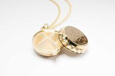 Gold plated SOS Talisman pill box pendant