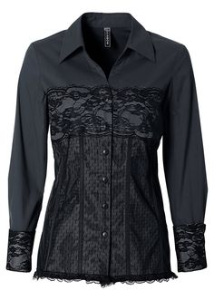 Now this is a little bit sexy! A long sleeve blouse features a lingerie look lace corset at the front. Keep it smart with some simple black trousers. Corset Shirt, Lace Corset, Tunic Blouse, Shirt Sleeves, Black Trousers, Alternative Fashion, Affordable Fashion, Lingerie, Sexy
