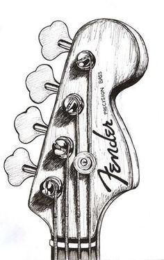 bass guitar drawing - Google zoeken More #bassguitar