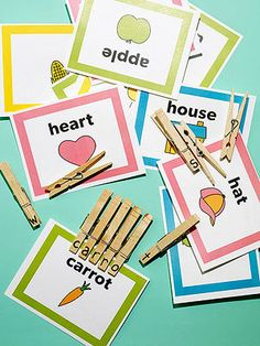 Print these free vocabulary cards, then use lettered cloth pins to help your toddler practice, matching letters and spelling. Toddler Fun, Toddler Learning, Early Learning, Fun Learning, Learning Letters, Quiet Time Activities, Educational Activities, Learning Activities, Preschool Activities