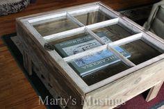 Table avec fenêtre recyclée