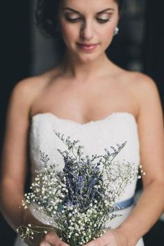 dried lavender and baby's breath bouquet -- really like this one. It would go with the lilac wrapped candle centerpiece.