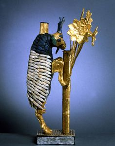 """Ram in the Thicket (or Ram Caught in a Thicket) (Mesopotamian, ca. 2650-2550 B.C.). Found in the """"Great Death Pit"""" at Ur. Gold, silver, lapis lazuli, copper, shell, red limestone and bitumen"""