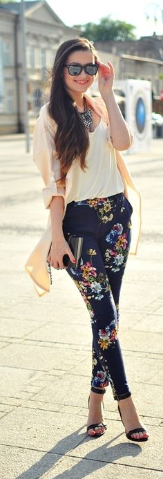 floral slim fit pants, ivory blouse, cardigan and heels. Quite relaxed and casual