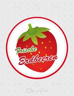 Aufkleber - Frische Erdbeeren, rund, A-FP-0002 | Gastronomie | Aufkleber | Werbedesigns | Despri
