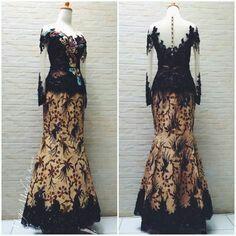 Batik dress with lace and emboidery details , custom made by Mega Mode by Karina Kebaya Lace, Kebaya Dress, Batik Kebaya, Batik Dress, Model Kebaya Modern, Kebaya Modern Dress, Gaun Dress, Dress Brokat, Elegant Dresses
