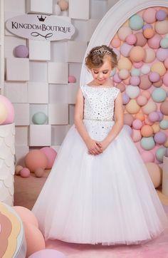 White Flower Girl Dress - Holiday Bridesmaid Birthday Wedding Party White Flower Girl Tulle Dress